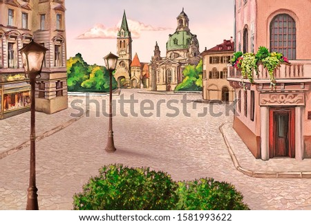 Street of the ancient European city with lanterns, houses and cathedrals