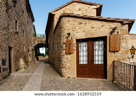 street of the ancient town in catalonia