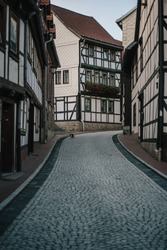 Street of the old German city going up.
