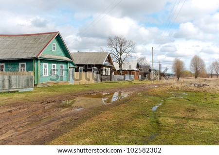 Street of the Russian countryside in the spring. Russia, Tver region.