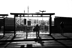 Street photography of someone waiting at a bus stop in black and white.
