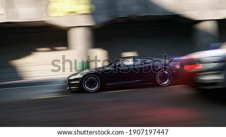 street police fast car chase visualisation background, 3D Illustration Foto stock ©