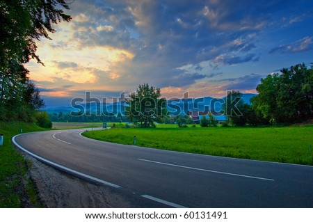 Street. Road in the cloudy day. - stock photo