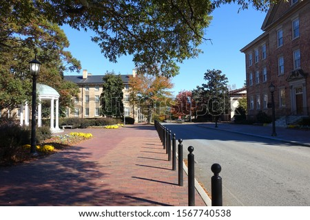 Photo of  Street running through the main campus of University of North Carolina in Chapel Hill