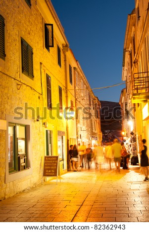 Street scene at night in the old Pag town, Croatia