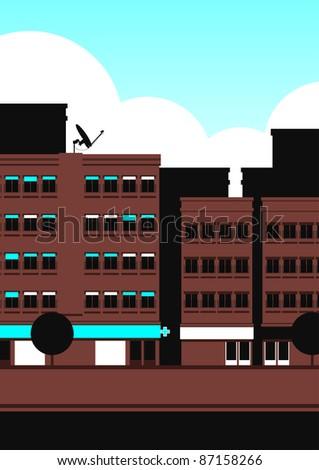 Street scene illustration - stock photo