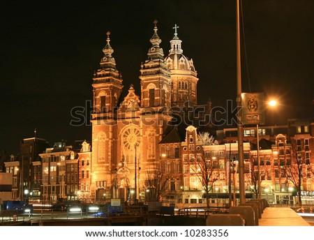 Street scene in Amsterdam Holland at night