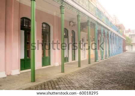 Street scenic with colorful buildings and pillar in sunshine daytime.
