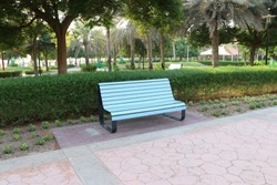 Street Seating Furniture in the park, wooden and steel seat furniture for relax in the street