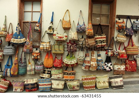 Street shopping for handbags - stock photo