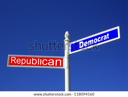street sign against a clear blue sky depicting Republican vs Democrat Party