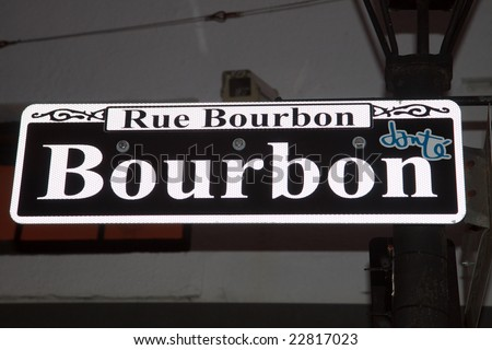 Street sign for Bourbon Street, New Orleans, Louisiana; copy space for text