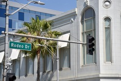 Street sign for the fabulous Rodeo Drive shopping district in Beverly Hills