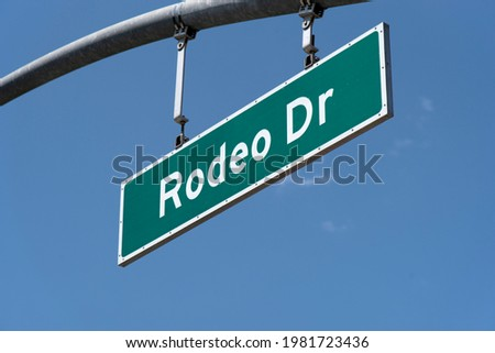 Street sign for the famous Rodeo Drive luxury shopping district in Beverly Hills California Stockfoto ©