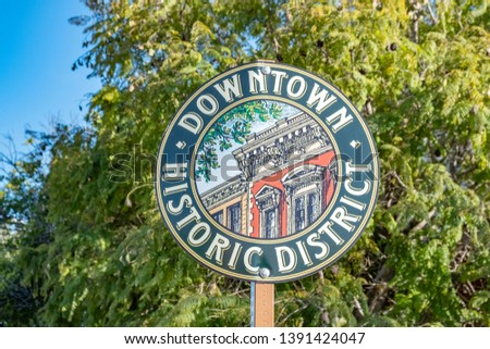 street sign in San Luis Obispo downtown historic district for tourists Foto stock ©