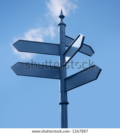 Street-sign in the city, 5 directions, sky. Isolated. Clipping path