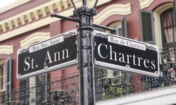 Street sign of New Orleans most famous streets at French Quarter