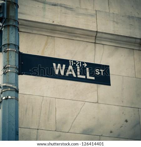 Street sign of New York Wall street