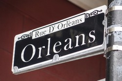 Street sign of Orleans Street at French Quarter