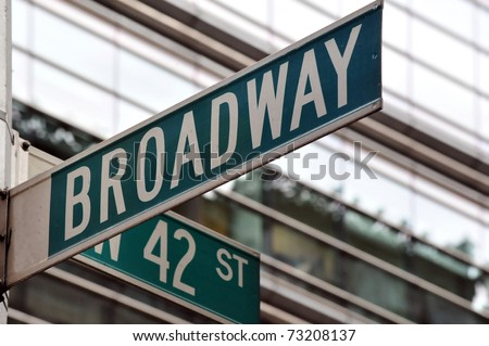 Street sign on the corner of Broadway and 42nd Street in Manhattan, New York City #73208137