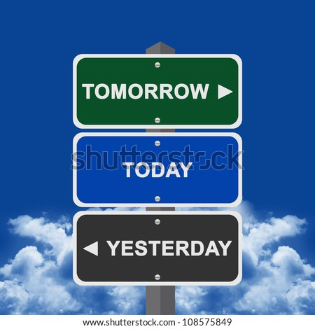 Street Sign Pointing to Tomorrow, Today and Yesterday With Blue sky Background