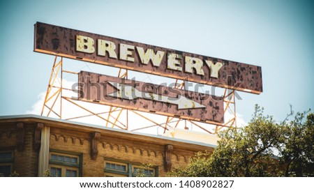 Street Sign the Direction Way to Brewery #1408902827