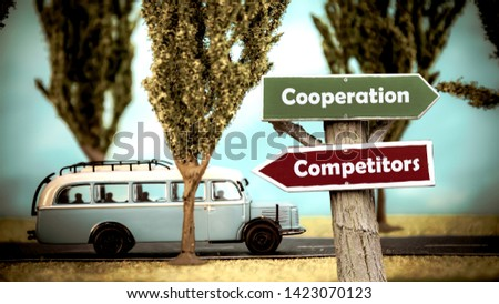 Street Sign the Direction Way to Cooperation versus Competitors #1423070123