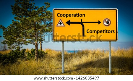 Street Sign the Direction Way to Cooperation versus Competitors #1426035497