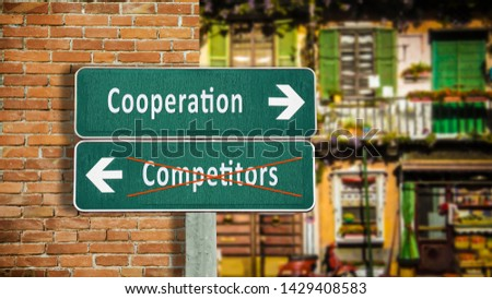 Street Sign the Direction Way to Cooperation versus Competitors #1429408583