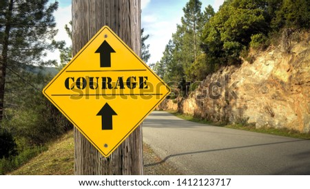 Street Sign the Direction Way to Courage #1412123717