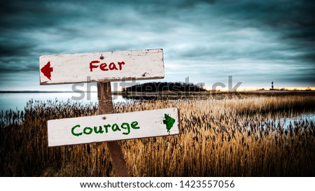 Photo of  Street Sign the Direction Way to Courage versus Fear