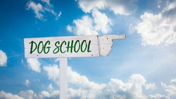 Street Sign the Direction Way to Dog School
