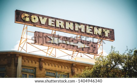 Street Sign the Direction Way to Government #1404946340