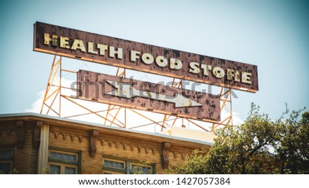 Street Sign the Direction Way to HEALTH FOOD STORE #1427057384