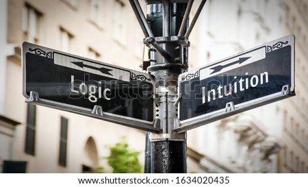 Street Sign the Direction Way to Intuition versus Logic Stock foto ©