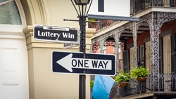 Street Sign the Direction Way to Lottery Win