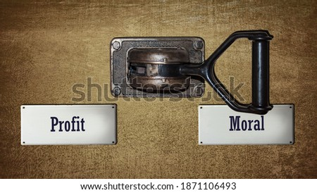 Street Sign the Direction Way to Moral versus Profit ストックフォト ©
