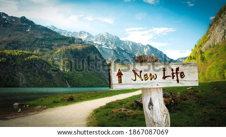 Street Sign the Direction Way to NEW LIFE Stock photo ©