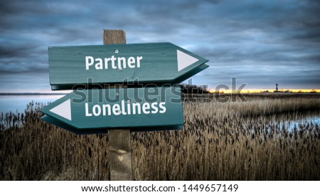 Street Sign the Direction Way to Partner versus Loneliness