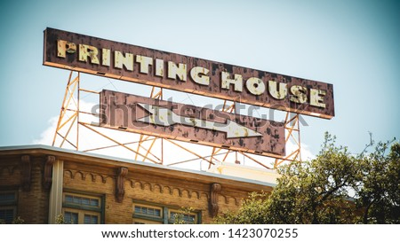 Street Sign the Direction Way to PRINTING HOUSE #1423070255