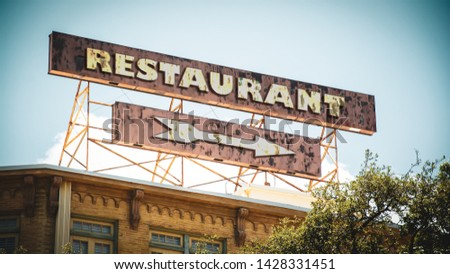 Street Sign the Direction Way to Restaurant #1428331451