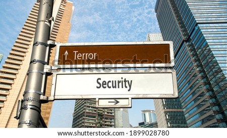 Street Sign the Direction Way to Security versus Terror Сток-фото ©