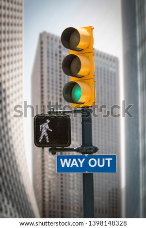 Street Sign the Direction Way to WAY OUT #1398148328