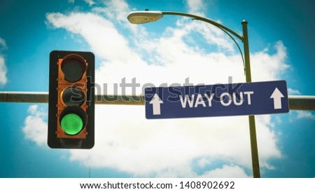 Street Sign the Direction Way to WAY OUT #1408902692