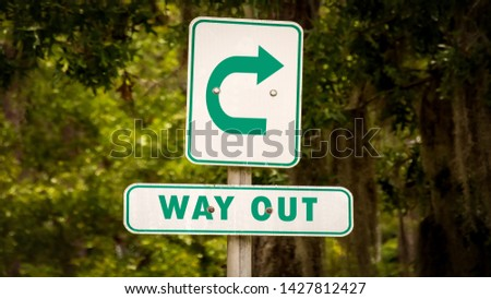 Street Sign the Direction Way to WAY OUT #1427812427