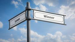 Street Sign the Direction Way to Winner versus Loser