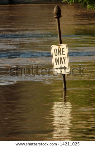 Street Sign Under Flood Water, St. Louis, Missouri