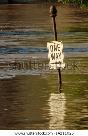 Street Sign Under Flood Water, St. Louis, Missouri