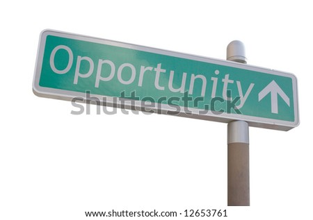 """Street sign with an arrow and the word """"opportunity"""""""