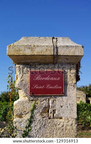 Street sign with Bordeaux saint emilion village name